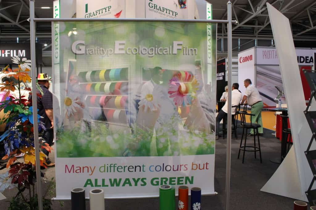 "Typical booth at FESPA offering ""green"" products."