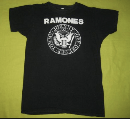 The ubiquitous Ramones shirt, black shirt and simple. Worn by cool kids and poseurs everywhere.