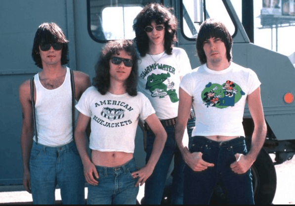 The Ramones ca. 1976, Tommy in white shirt, second from the left.