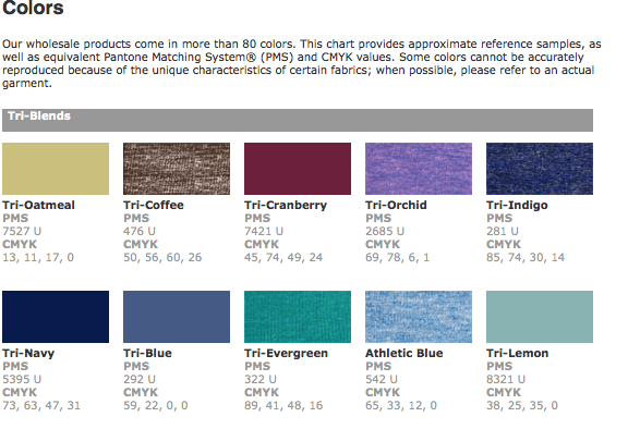 American Apparel garment color chart with closest Pantone and CMYK values.