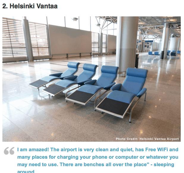 Number 2 best airport according to sleepinginairports.net - Helsinki