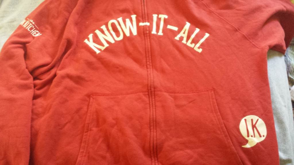 "It may not be obvious that we know everything, so we have these garment  to identify us at the Ink Kitchen ""Know-It-All"" booth"