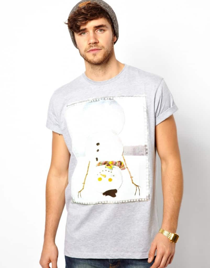 T-Shirt-With-Christmas-Snowman-Print-And-Rolled-Sleeve