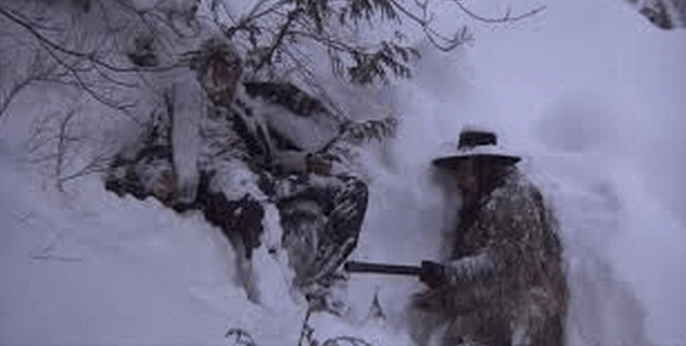 A shot from the classic closing scene from the film McCabe and Mrs. Miller