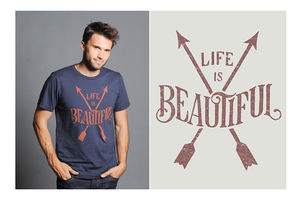 "Printed too low, probably they used the arrows to locate the design, but visually  the word ""Life"" is more like the top. It ends up with the main idea ""Beautiful"" on the belly not chest. It is slight here, usually I see it horrendously low."