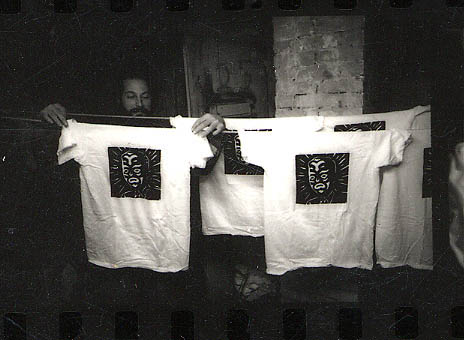 Shirts being hung up to dry, my pal Jeff Grove helping me out