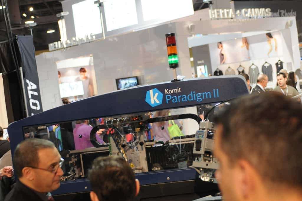 The Kornit Paradigm II is a unique pairing with screenprinting which allows for new creative types of soft prints done rapidly.