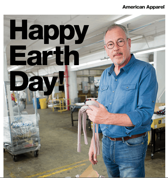 "American Apparel not only pushes organics, they recycle everything they can including cotton scraps. As they say, ""Happy Earth Day!"""