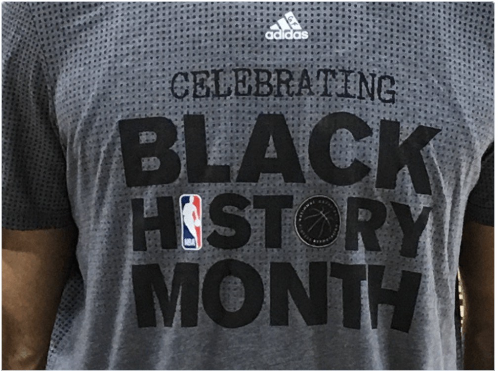 Shirt the players were wearing before the game, celebrating Black History Month