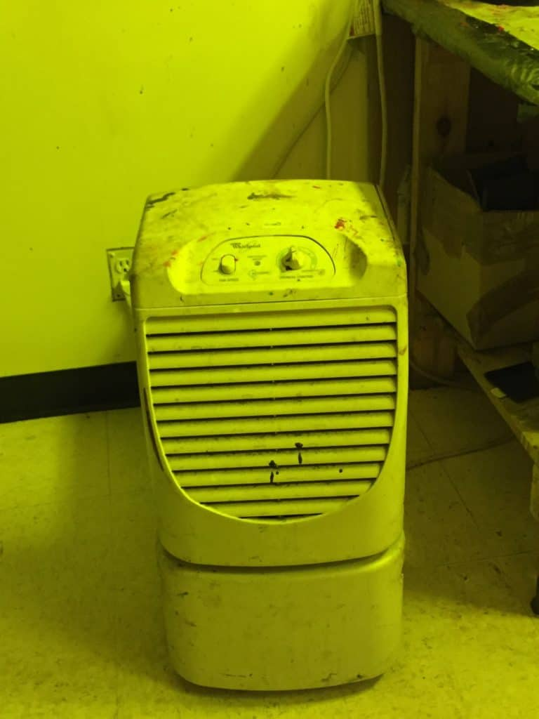 Second line of defense in keeping your humidity down is a duh, dehumidifier. Get one or even two in a big screen room. They remove moisture but do not lower the temperature of the room.
